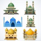 Set odizolowywający na białym tle muzułmański meczet royalty ilustracja
