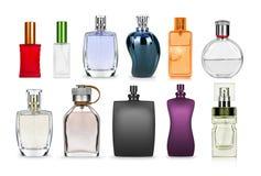 set odizolowywający na bielu pachnidło butelka obraz stock