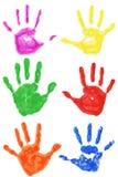 Set odizolowywający ręka kolorowi druki Obrazy Royalty Free