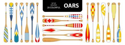 Set odosobneni 20 ślicznych kolorowych wioseł w czerwieni, błękit, żółty brzmienie ilustracji