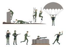 Set odosobneni żołnierze robi ćwiczeniom militate ilustracji