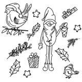 Set odosobneni Bożenarodzeniowi elementy royalty ilustracja