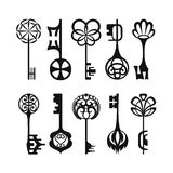 Set odosobneni graficzni retro klucze Obraz Stock