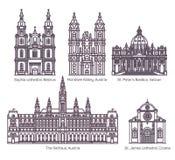 Set odosobneni katedralni architektury linii znaki ilustracji