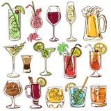 Set odosobneni kolorowi koktajle ilustracja wektor
