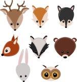 Set odosobneni lasowi zwierzęta przewodzi - wektorową ilustrację, eps royalty ilustracja