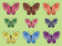Set odosobneni prości barwioni motyle na jasnozielonym tle ilustracja wektor