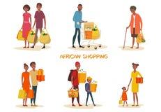 Set odosobniona amerykanin afrykańskiego pochodzenia rodzina przy sklepem ilustracji