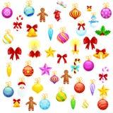 Set odosobniona Bożenarodzeniowa dekoracja dla Wesoło bożych narodzeń i Szczęśliwego nowego roku balowej Wektorowej ilustraci royalty ilustracja