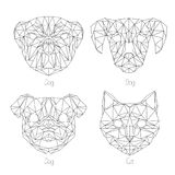 Set odosobnionego poligonal trójboka geometryczny zwierzę stawia czoło Obrazy Stock