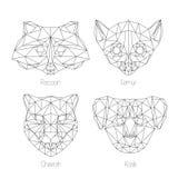 Set odosobnionego poligonal trójboka geometryczny zwierzę stawia czoło Fotografia Royalty Free