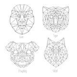 Set odosobnionego poligonal trójboka geometryczny zwierzę stawia czoło Obraz Stock