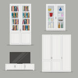 Set odosobniony Bookcase, TV gabinet i garderoba meble, Fotografia Royalty Free