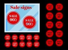 Set odosobniony czerwony obniżonej ceny round przylepia etykietkę etykietki na czarnym tle ilustracja wektor