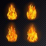 Set odosobniony 3d ogień lub realistyczny oparzenie, płomień ilustracji