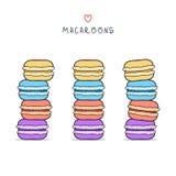 Set odosobniony kolorowy doodle macaroon Nakreślenia macaroon Zdjęcie Royalty Free
