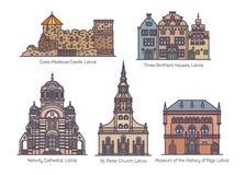 Set odosobniony Latvia lub Latvian architektura royalty ilustracja