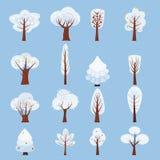 Set Odosobniony zimy drzewo dekoruje stylizowanego, śnieżny, nagi Wektor, kreskówka styl, odizolowywający, szablon w kreskówka st ilustracja wektor