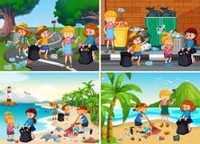 Set Odpowiedzialni Ochotniczy dzieciaki ilustracja wektor