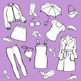 Set odzież, buty, akcesoria Odosobniona wektorowa ilustracja dla projekta i kolorystyki ilustracja wektor
