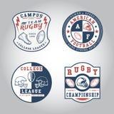 SET odznaka rugby Obraz Stock