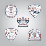 SET odznaka rugby Ilustracja Wektor