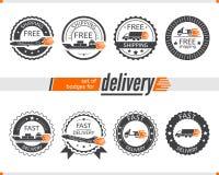 Set odznaki dla dostawa transportu, ciężarówka, statek, samolot, hulajnoga Zdjęcia Stock