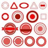 Set odznaki, etykietki i majchery bez teksta w czerwieni, Obrazy Royalty Free