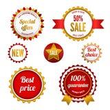 Set odznaki, etykietki i majchery sprzedaży, Obraz Royalty Free