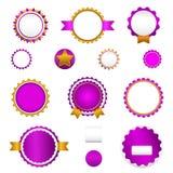 Set odznaki, etykietki i sticers bez teksta w purpurach sprzedaży, Zdjęcia Stock