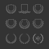 Set odznaki i laurowi wianki Zdjęcie Royalty Free