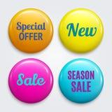 Set odznaki jako Specjalna oferta, Nowy, sprzedaż, sezon sprzedaż Produkt promocje Rabat zapina kolekcję wektor royalty ilustracja