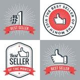 Set odznaki, sztandar, etykietki, emblemata bestseller liczba 1 cztery elementy projektu tła snowfiake białego Zdjęcia Stock