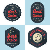 Set odznaki, sztandar, etykietki, emblemata Najlepszy wybór w retro stylu cztery elementy projektu tła snowfiake białego Zdjęcie Stock
