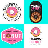 Set odznaki, sztandar, etykietki i logowie dla, pączek piekarni i sklepu Obrazy Royalty Free