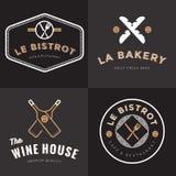 Set odznaki, sztandar, etykietki, logowie dla francuskiej karmowej restauraci, foods sklep, piekarnia, wino i catering, cztery el Zdjęcie Royalty Free