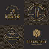 Set odznaki, sztandar, etykietki, logowie dla karmowej restauraci, foods sklep i catering z bezszwowym wzorem, Obrazy Royalty Free