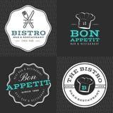 Set odznaki, sztandar, etykietki, logowie dla karmowej restauraci, foods sklep i catering z bezszwowym wzorem, Zdjęcia Royalty Free