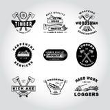 SET odznaki tarcica, WOODWORKING, narzędzie Fotografia Royalty Free