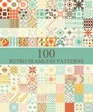 Set Of 100 Seamless Retro Stock Image