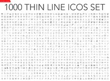 Free Set Of 1000 Thin Line Icons Stock Photos - 151765413