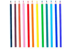 Set Of 12 Colored Pencils Isolated On White Stock Photography