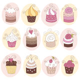 Set Of 12 Cute Cupcakes Royalty Free Stock Image