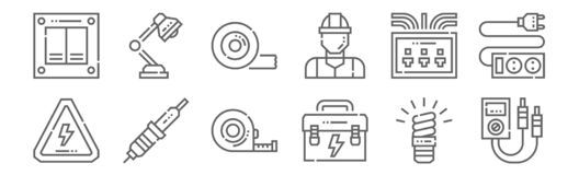 Free Set Of 12 Electrician Tools And Icons. Outline Thin Line Icons Such As Multimeter, Tool Box, Soldering Iron, Fuse Box, Tape, Table Royalty Free Stock Photography - 175829727