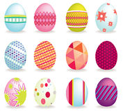 Set Of 12 Icon Easter Eggs Royalty Free Stock Images