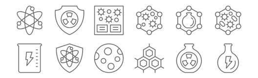 Free Set Of 12 Scientific Icons. Outline Thin Line Icons Such As Power, Cell Wall, Military, Chemistry, Laboratory, Nuclear Royalty Free Stock Photos - 175830498