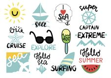 Set Of 12 Summer Inscription With Hand Lettering I Love Sea, Extreme, Super Captain, Big Cruise, Explore, Surfing, Hello Royalty Free Stock Photo