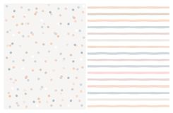 Free Set Of 2 Varius Abstract Vector Patterns. Beige,Blue And Warm Pink Round Shape Falling Confetti. Royalty Free Stock Image - 140505666