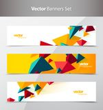 Set Of 3 Banner Design Templates With Abstract Polygonal Objects Royalty Free Stock Photo