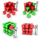 Set Of 3d Man With Shiny Blocks Royalty Free Stock Photos